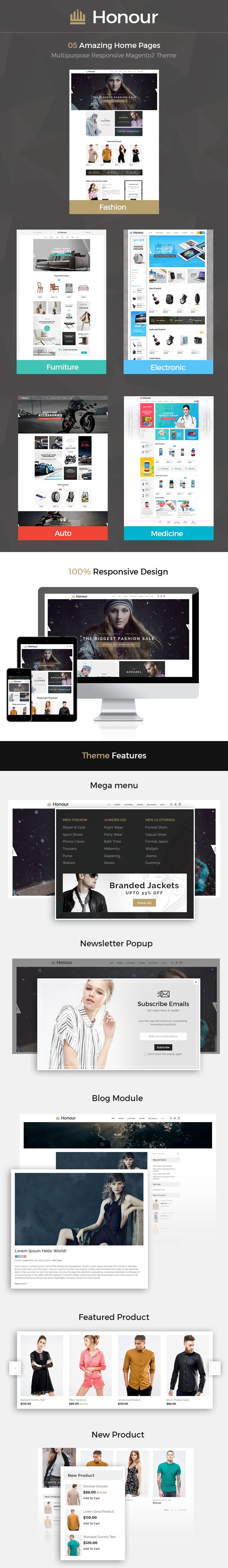 Honour - Multipurpose Responsive Magento2 Theme | Fashion Furniture Auto & Electronics & Medicine - 1