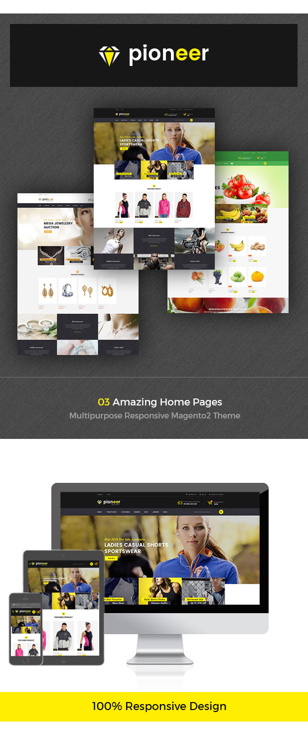 Pioneer - Multipurpose Responsive Magento2 Theme | Fashion Sportswear Food & Jewellery - 1