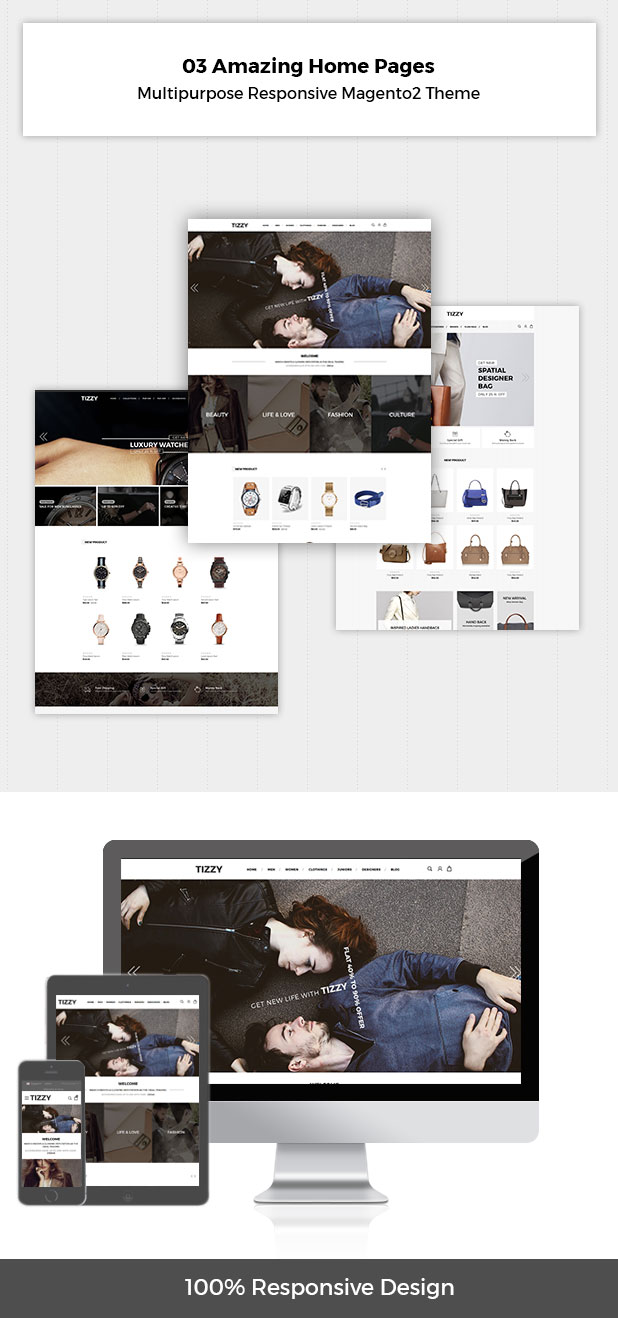 Tizzy - Multipurpose Responsive Magento2 Theme   Fashion Store   Watch Store   Cosmetic & Bag Store - 1